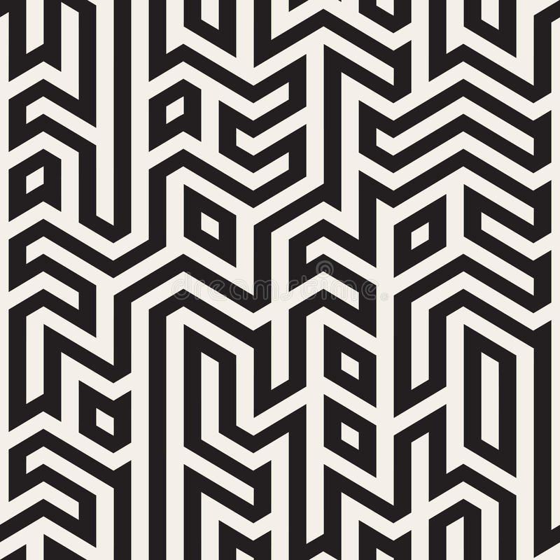 Vektor nahtloser Schwarzweiss--Maze Lines Geometric Irregular Pattern stock abbildung