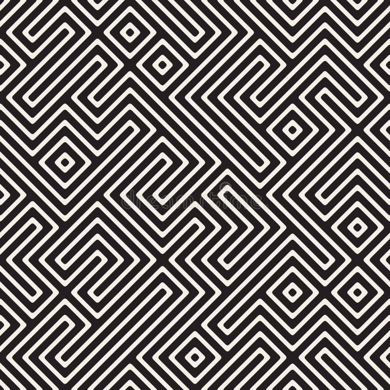 Vektor nahtloser Schwarzweiss--Maze Stripes Irregular Geometric Pattern stock abbildung