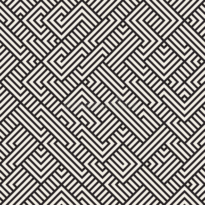 Vektor nahtloser unregelmäßiger Maze Geometric Pattern vektor abbildung