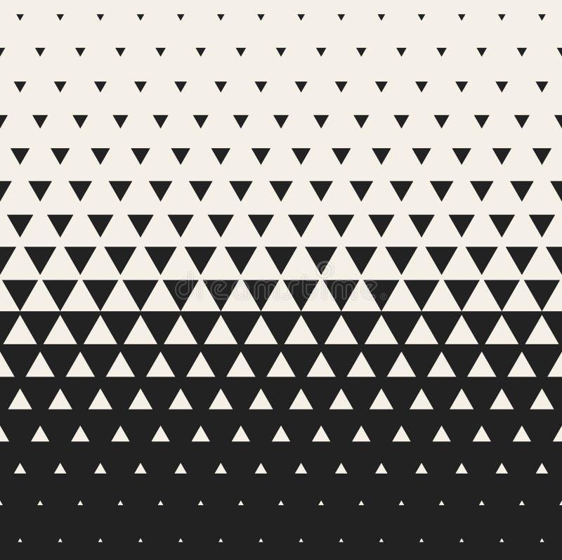 Vektor-nahtloser verwandelnder Dreieck-Halbtongitter-Steigungs-Muster-geometrischer Schwarzweiss-Hintergrund vektor abbildung