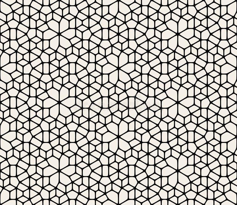 Vektor-nahtloses abstraktes geometrisches gerundetes Spitze-Pflasterungs-Schwarzweiss-Muster lizenzfreie abbildung