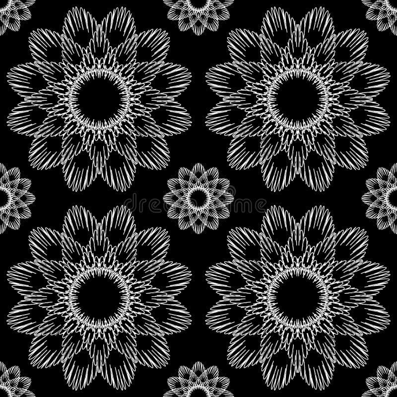 Vektor-nahtloses dekoratives Schwarzweiss-Muster-endlose Beschaffenheit vektor abbildung