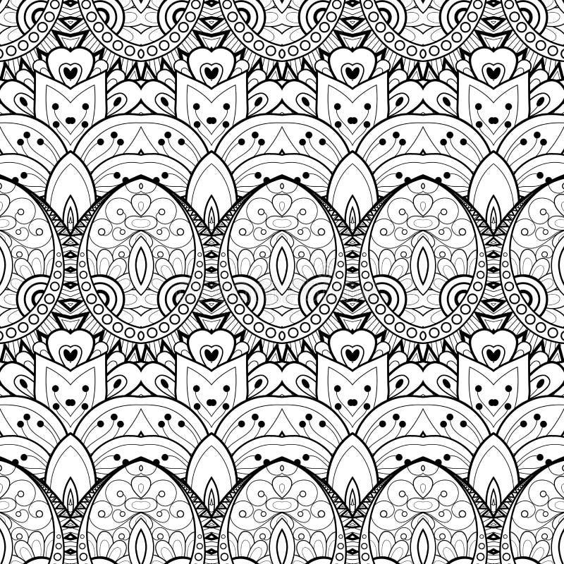 Vektor-nahtloses einfarbiges Damast-Muster vektor abbildung