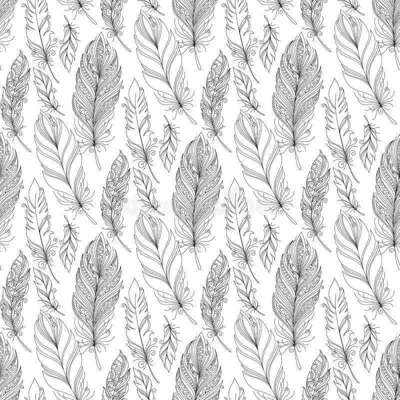 Vektor-nahtloses einfarbiges Muster mit Gekritzel-Federn stock abbildung