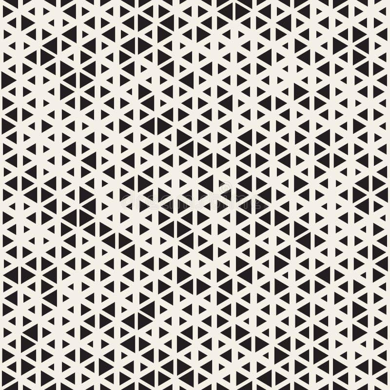 Vektor-nahtloses gelegentliches Größen-Dreieck-Schwarzweiss-Schachbrettmuster vektor abbildung