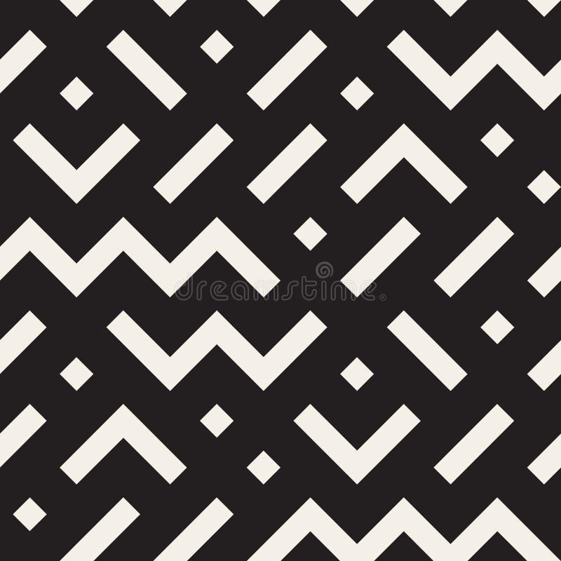 Vektor-nahtloses geometrisches Form-Durcheinander-Schwarzweiss-Muster stock abbildung