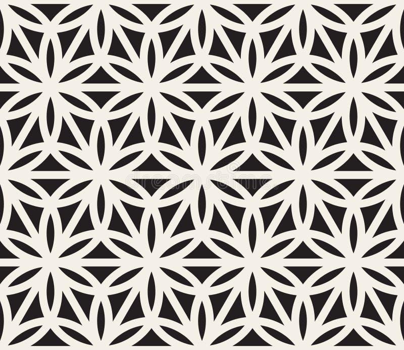 Vektor-nahtloses geometrisches Kreis-Dreieck-Form-Schwarzweiss-Muster vektor abbildung