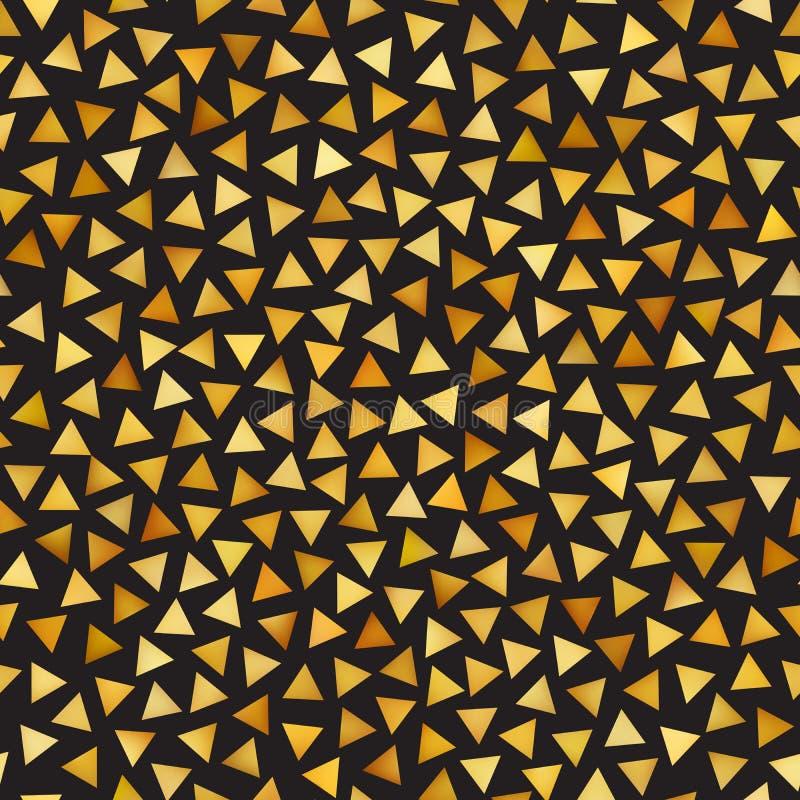 Vektor-nahtloses goldenes Steigungs-Dreieck-Form-Durcheinander-Muster stock abbildung