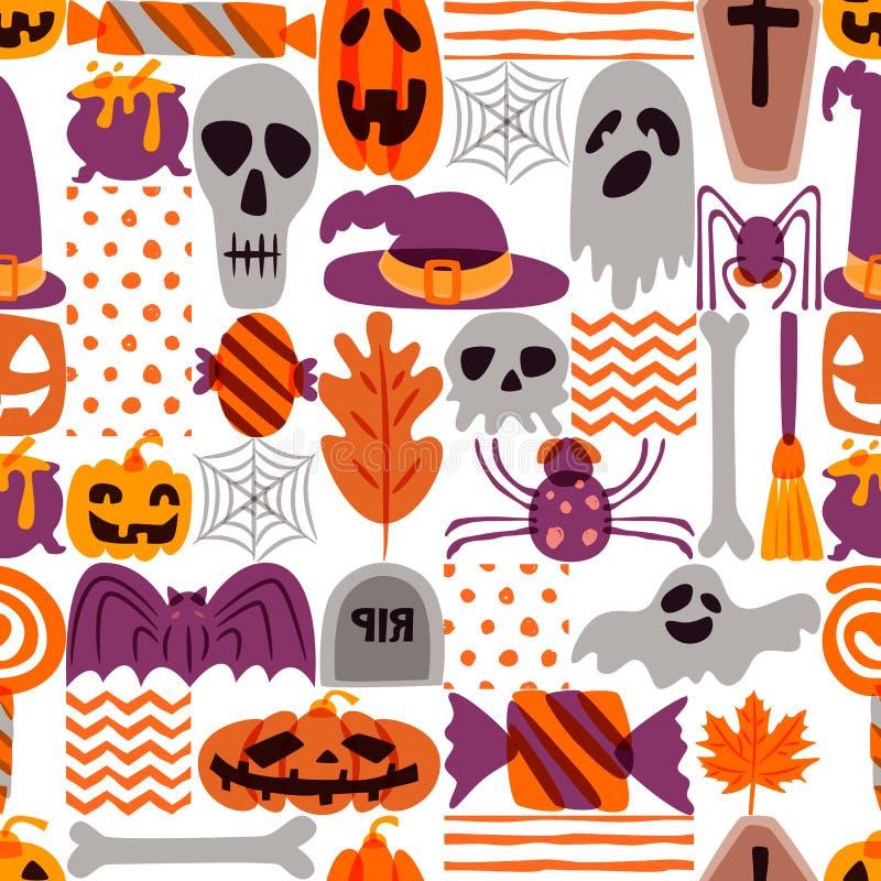 Vektor-nahtloses Halloween-Muster Kritzeln Sie Kürbis, Schädel, Hexenhut, Knochen auf weißem Hintergrund lizenzfreie abbildung