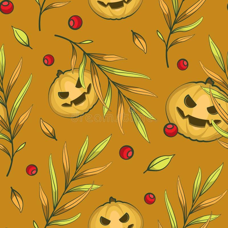 Vektor-nahtloses Halloween-Muster mit furchtsamen Kürbisen, Herbstlaub und roten Beeren auf orange Hintergrund lizenzfreie abbildung