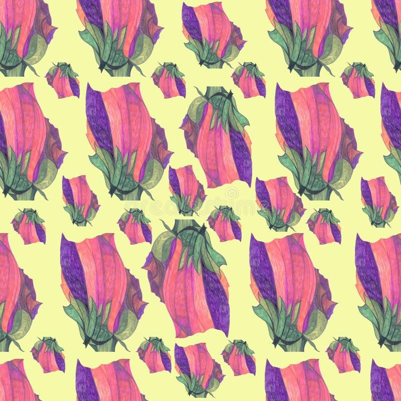 Vektor, nahtloses Muster der Tulpen, im Veilchen, weiches Rosa, grüner, olivgrüner, einfacher Sahnehintergrund stock abbildung