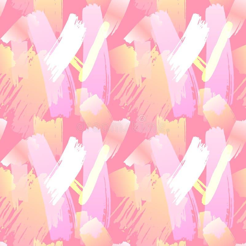 Vektor-nahtloses Muster, malen Anschlag-Hintergrund, Lebencoral trendy color, abstrakter Hintergrund vektor abbildung