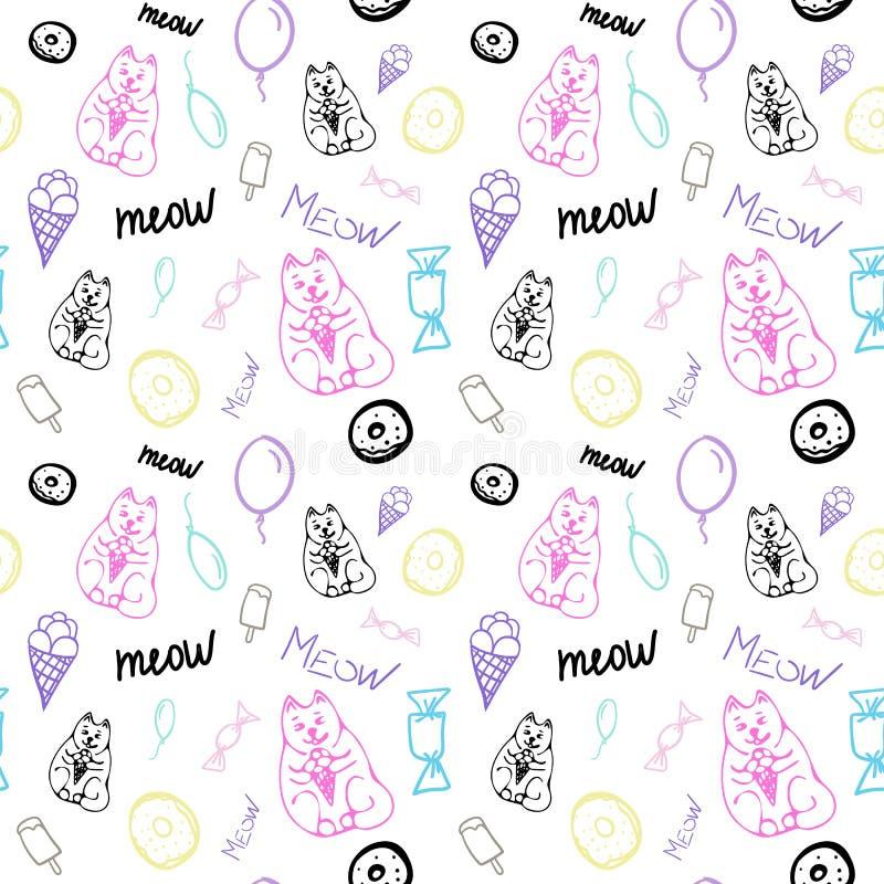 Vektor-nahtloses Muster mit netten Katzen und Bonbons lizenzfreie abbildung