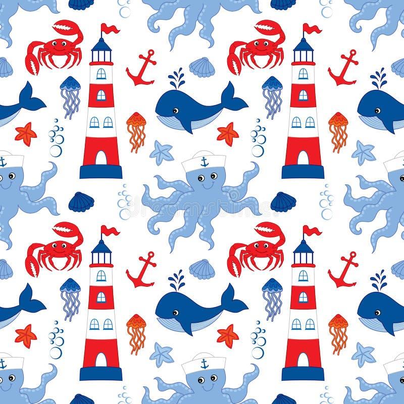 Vektor-nahtloses Muster mit Schiff, Leuchtturm, Wal, Anker, Krabbe, Krake Nahtlose Muster-Vektor-nautischillustration vektor abbildung