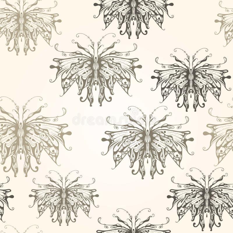 Vektor-nahtloses Muster mit Weinlese-Art-Schmetterlingen lizenzfreie abbildung