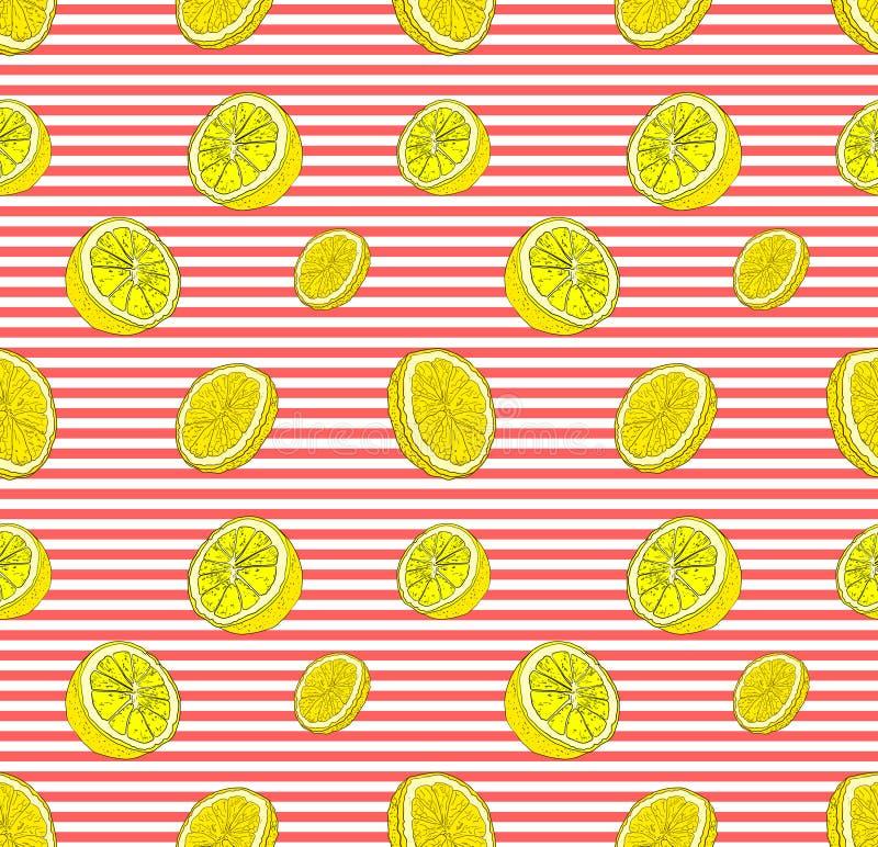 Vektor-nahtloses Muster mit Zitronen, bunter Hintergrund-Schablone, gestreiftem Hintergrund und Zitronen-Scheiben stock abbildung