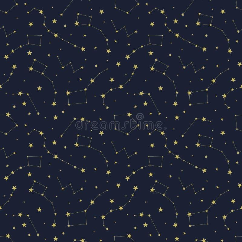 Vektor-nahtloses Muster, nächtlicher Himmel, Konstellationen und Sterne, Hintergrund stock abbildung