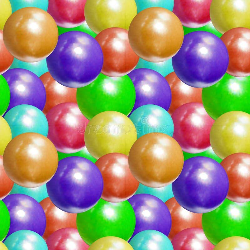 Vektor-nahtloses Muster, realistische Plastikball-bunter Hintergrund, helle Farben lizenzfreie abbildung