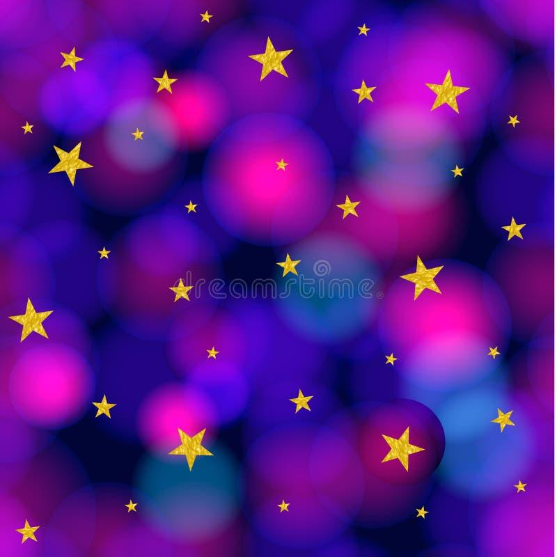 Vektor-nahtloses Muster: Starrs und Galaxie, glänzender Hintergrund lizenzfreie abbildung