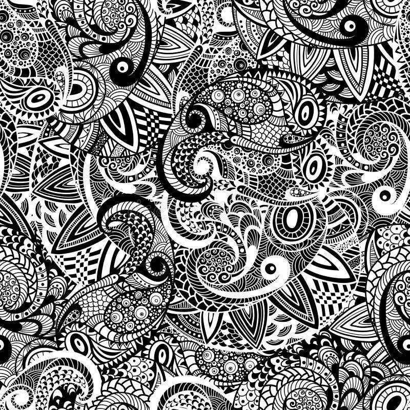 Vektor-nahtloses Paisley-Gekritzel-Muster vektor abbildung