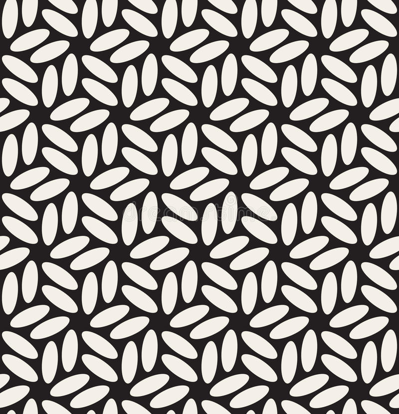 Vektor-nahtloses schwarzes u. Weiß gerundetes Ellipse-sechseckiges Blumenmuster stock abbildung