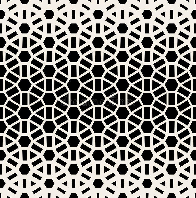 Vektor-nahtloses schwarzes u. weißes geometrisches Gitter-Halbton-Muster lizenzfreie abbildung