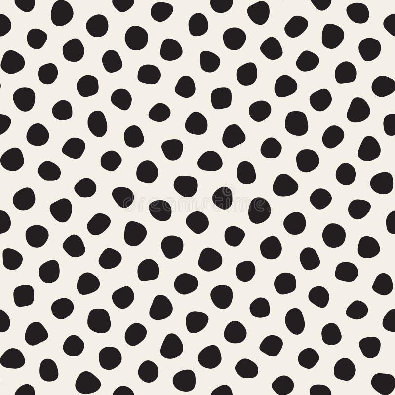 Vektor-nahtloses Schwarzweiss-Durcheinander kreist Muster ein stock abbildung