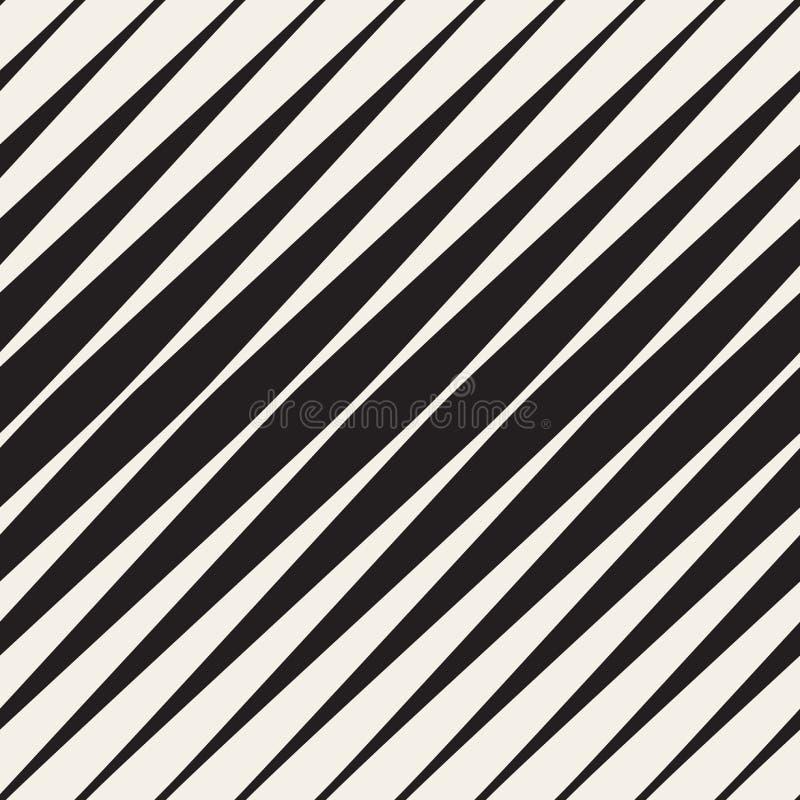 Vektor-nahtloses Schwarzweiss-Halbtonschrägstreifen-Muster lizenzfreie abbildung