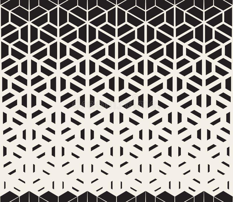 Vektor-nahtloses Schwarzweiss-Hexagon-Dreieck-aufgeteilte Linien Halbtonsteigungs-Muster lizenzfreie abbildung