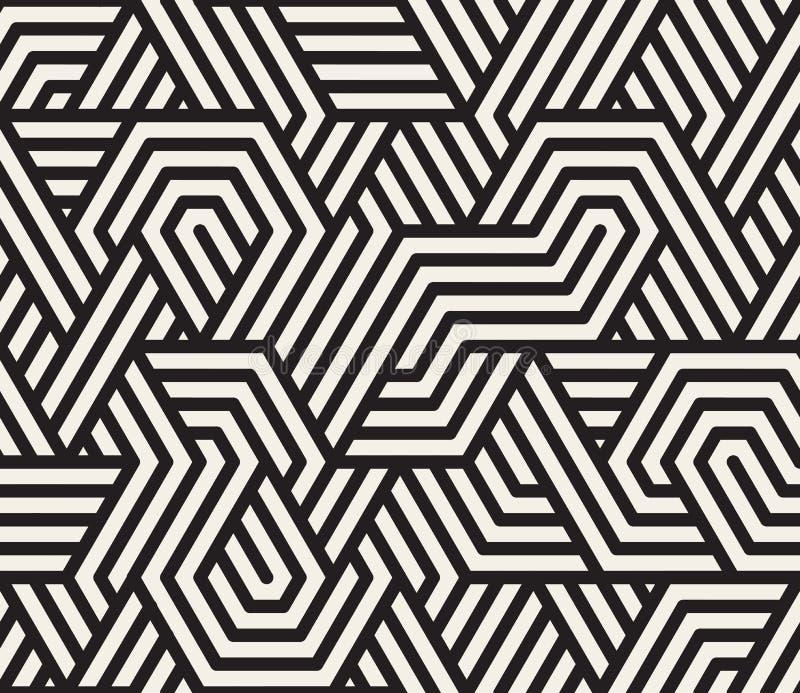 Vektor-nahtloses unregelmäßiges Schwarzweiss-Dreieck zeichnet geometrisches Muster lizenzfreie abbildung