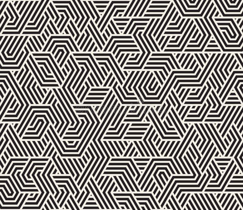 Vektor-nahtloses unregelmäßiges Schwarzweiss-Dreieck zeichnet geometrisches Muster stock abbildung