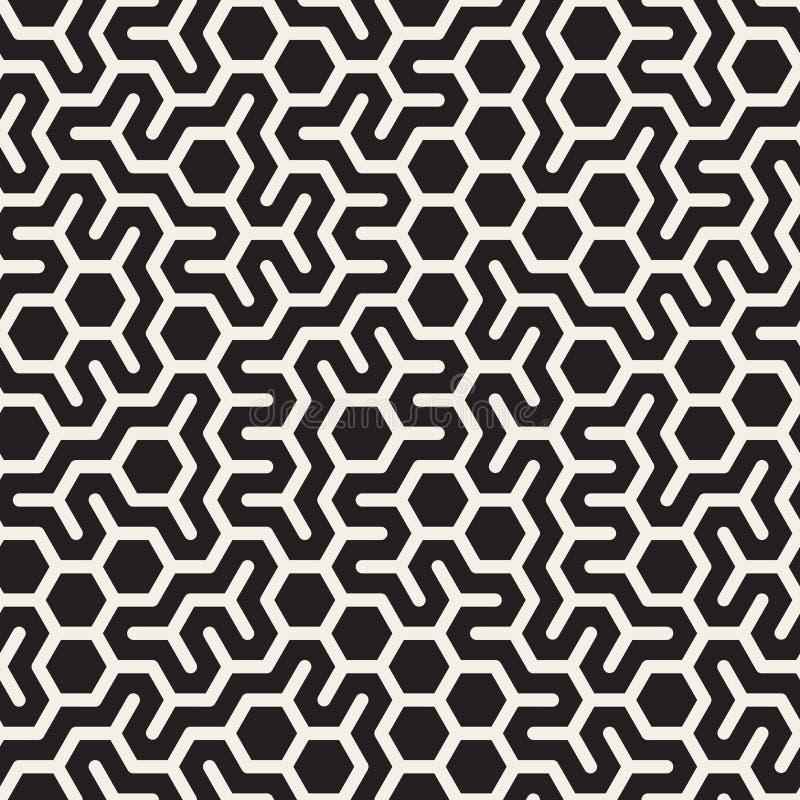 Vektor-nahtloses unregelmäßiges sechseckiges Schwarzweiss-Schachbrettmuster lizenzfreie abbildung