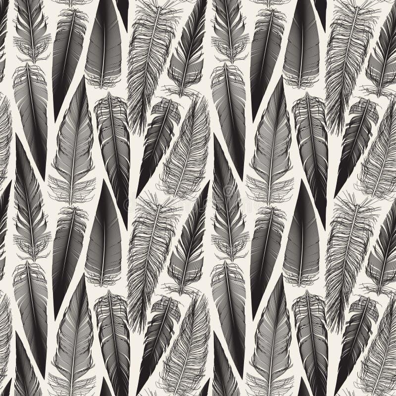 Vektor-nahtloses Vogel-Feder-Durcheinander-Schwarzweiss-Muster lizenzfreie abbildung