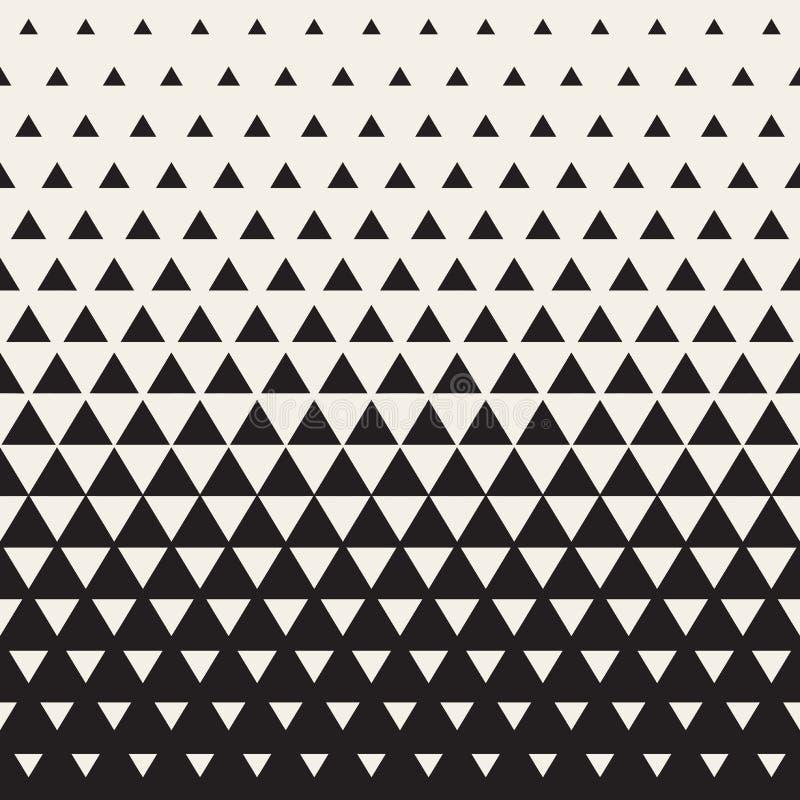 Vektor-nahtloses Weiß, zum Übergangs-Dreieck-des Halbtonsteigungs-Musters zu schwärzen stock abbildung