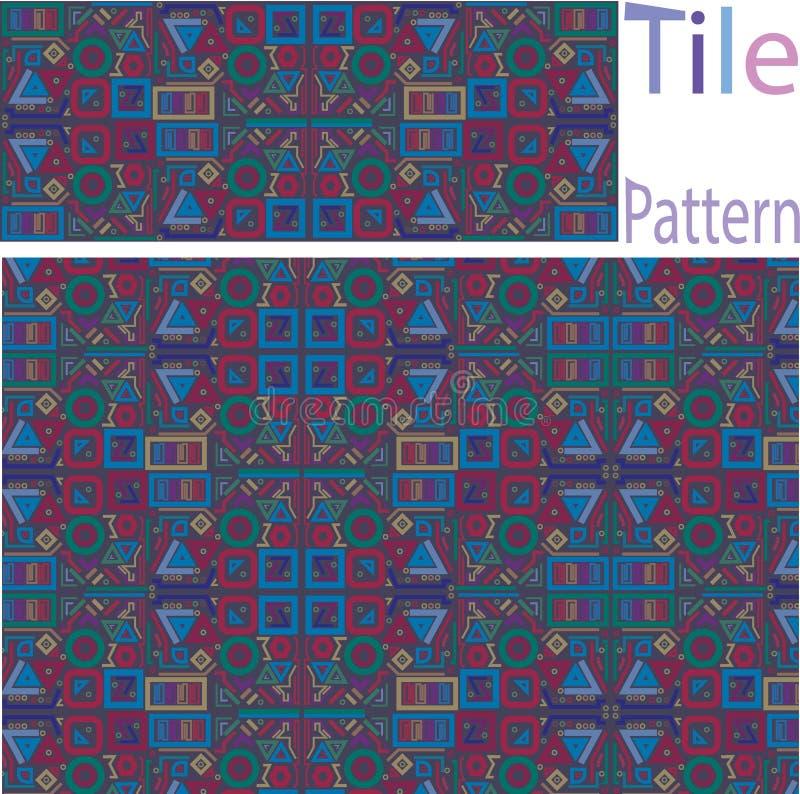 Vektor-nahtloses weißes geometrisches ursprüngliches quadratische Block-Gitter Pat stock abbildung