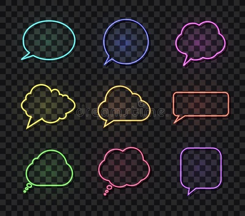 Vektor-Neongespräch sprudelt eingestellte, verschiedene Farbsprache-Kästen, die Gestaltungselement-Sammlung, lokalisiert vektor abbildung