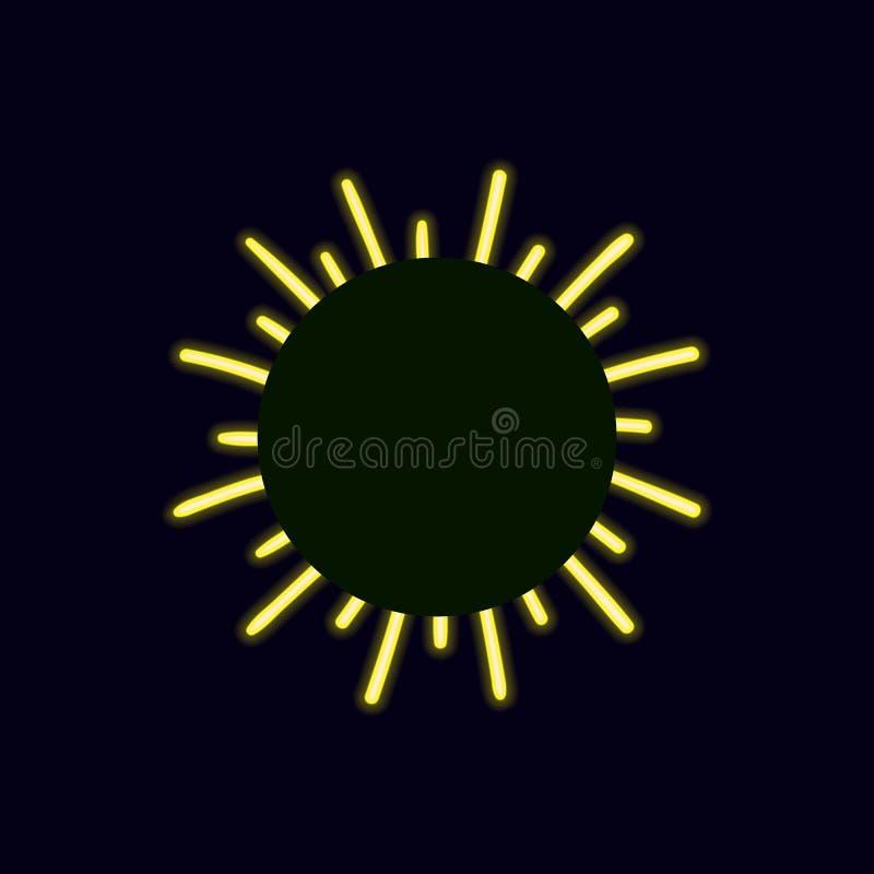 Vektor-Neonheller sonnenschein, Retro- Glanz-Ikone, Rahmen-Schablone vektor abbildung