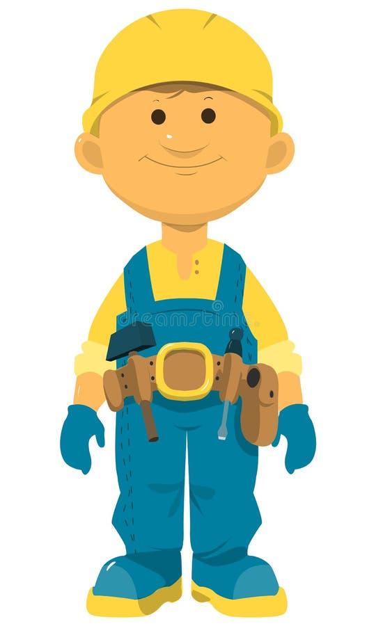 Vektor-nette kleine Jungen-Bohrung Kleine Jungen des Vektors mit verschiedenen Haarfarben Kleine Erbauervektorillustration stock abbildung