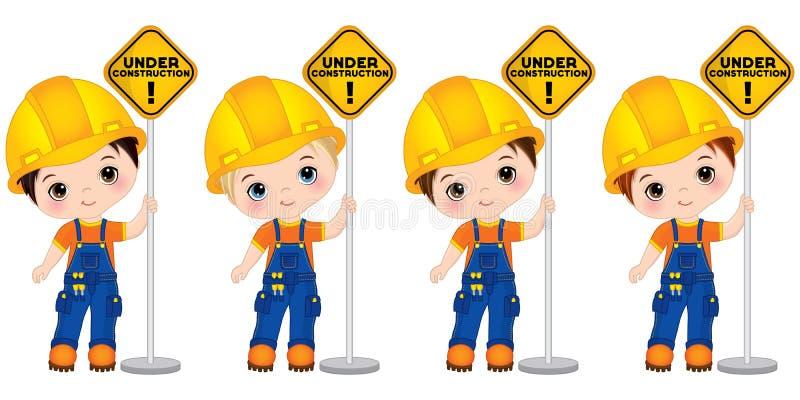Vektor-nette kleine Jungen, die das Zeichen - im Bau halten Vektor-kleine Erbauer lizenzfreie abbildung