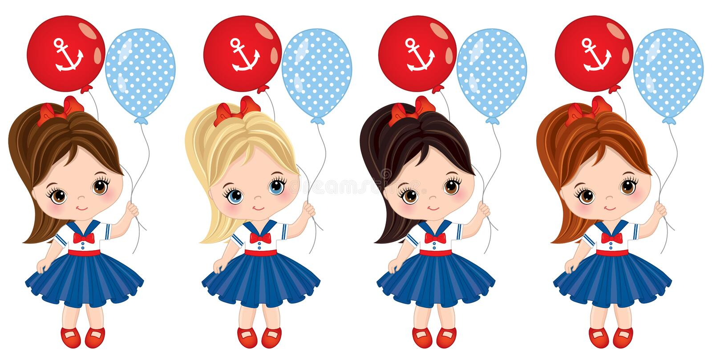 Vektor-nette kleine Mädchen gekleidet in der Seeart mit Ballonen lizenzfreie abbildung