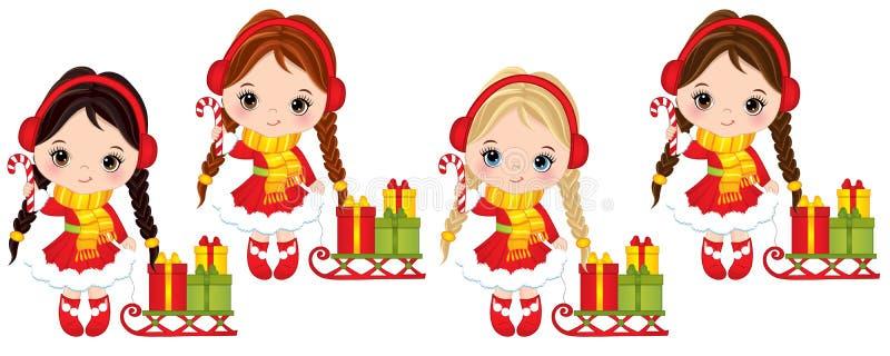 Vektor-nette kleine Mädchen mit Süßigkeits-Stöcken, Schlitten und Weihnachtsgeschenkboxen vektor abbildung
