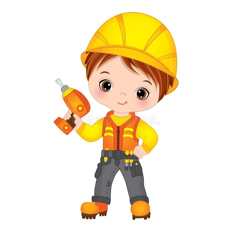Vektor-nette Little Boy-Bohrung Vektor-kleiner Erbauer stock abbildung