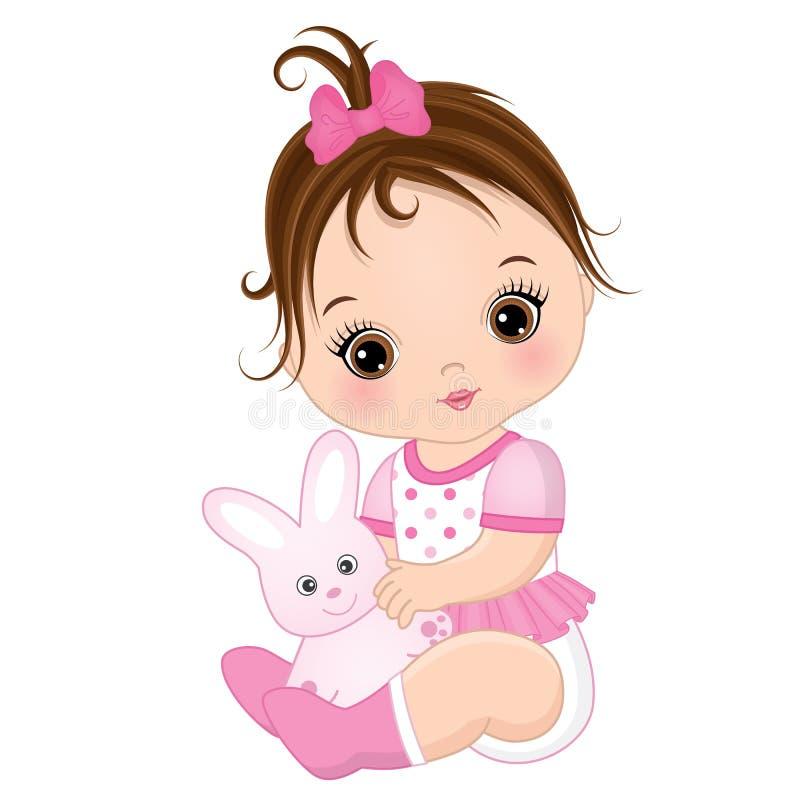 Vektor-nettes Baby mit Toy Bunny stock abbildung