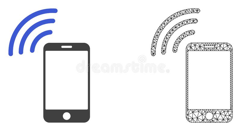 Vektor-Netz Mesh Cellphone Signal und flache Ikone lizenzfreie abbildung