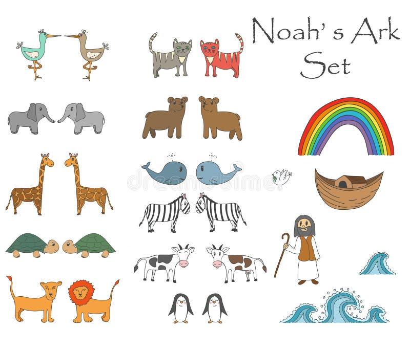 Vektor-Noah-` s Arche stellte mit Tieren ein lizenzfreie abbildung