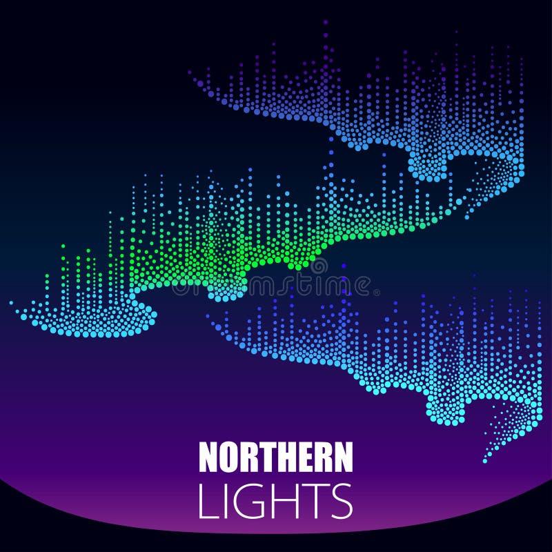 Vektor nordliga prack virvlar av färg eller polart ljus på den polara himlen Norrskenljus i dotwork utformar på mörkret stock illustrationer