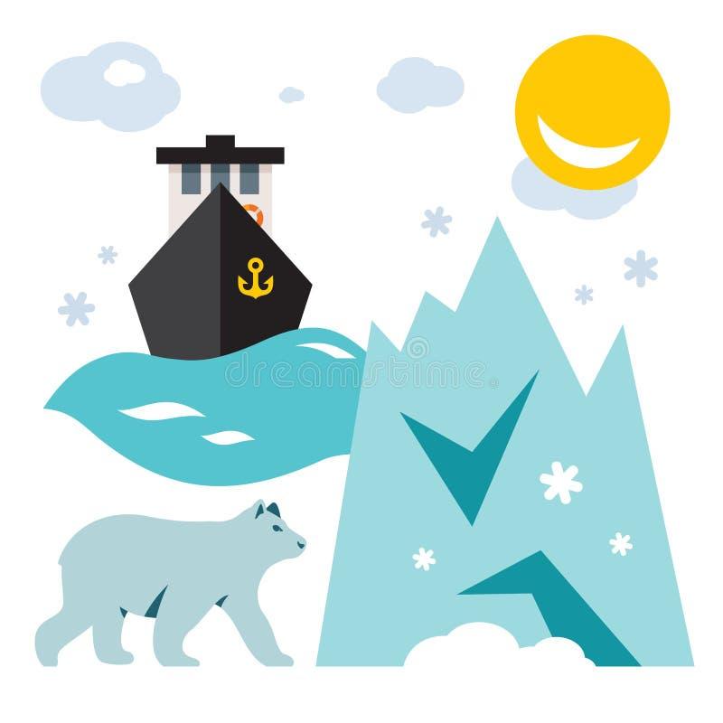 Vektor Nordpol Flache Art bunte Karikaturillustration vektor abbildung