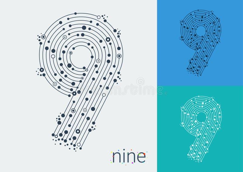 Vektor nummer nio på en ljus och färgrik bakgrund royaltyfri illustrationer