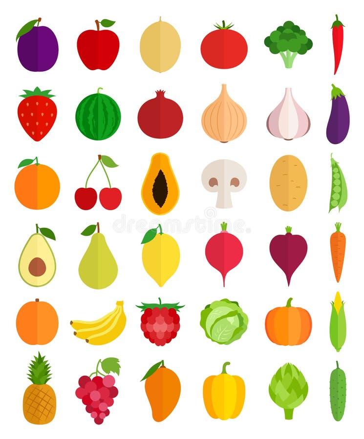 Vektor-Obst- und GemüseIkonen stock abbildung