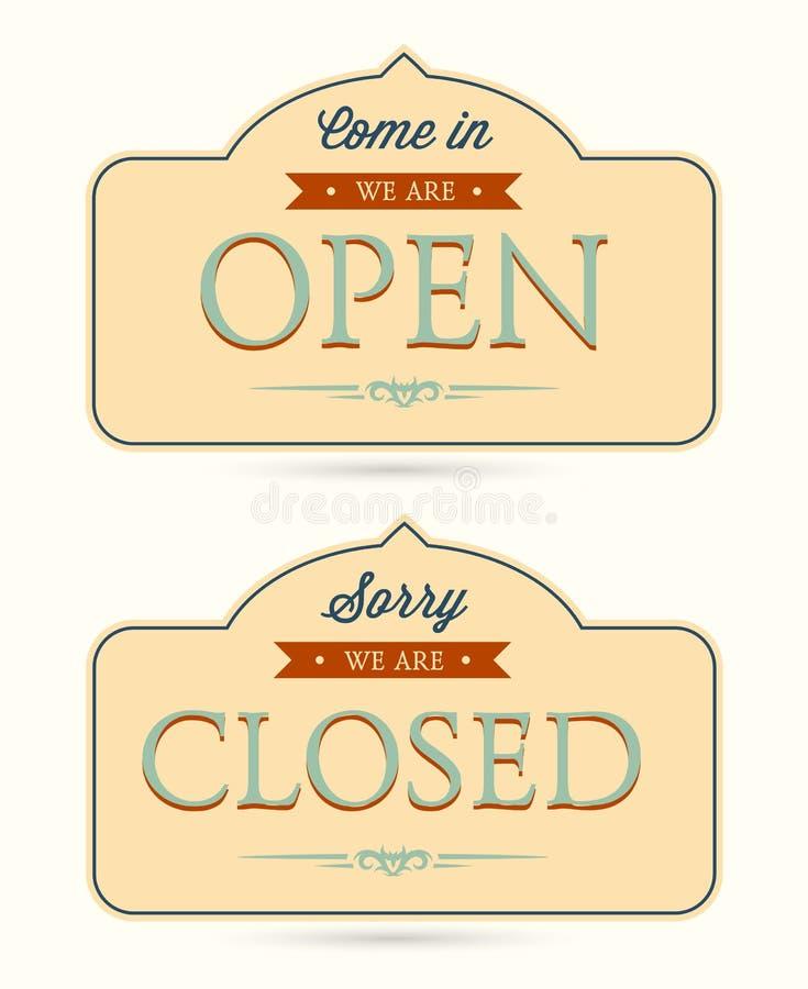 Vektor offen und geschlossene Zeichen stock abbildung